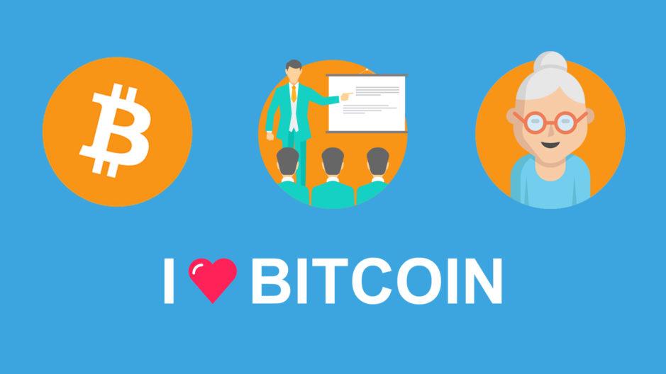 Illustration flat design du Bitcoin expliqué à ma grand mère.